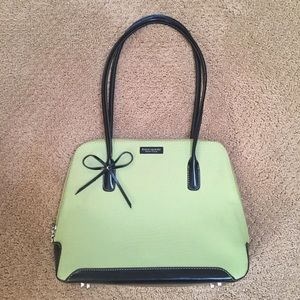 Kate Spade Pale Green and Black Handbag with Bow